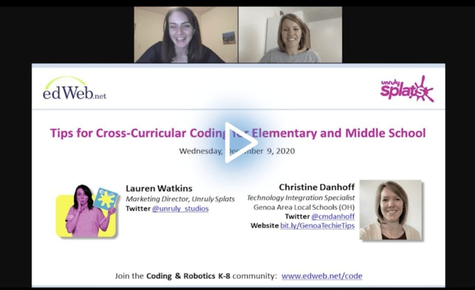Tips for Cross-Curricular Coding for Elementary and Middle School edWebinar recording link